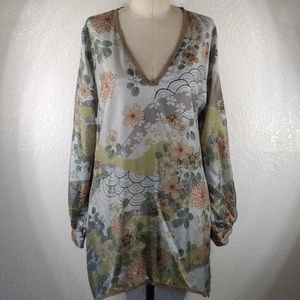 NWT Johnny Was Silk Floral Print Tunic Sz M